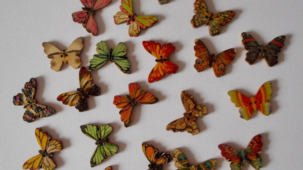 Mixed Butterflies 2 hole wooden buttons