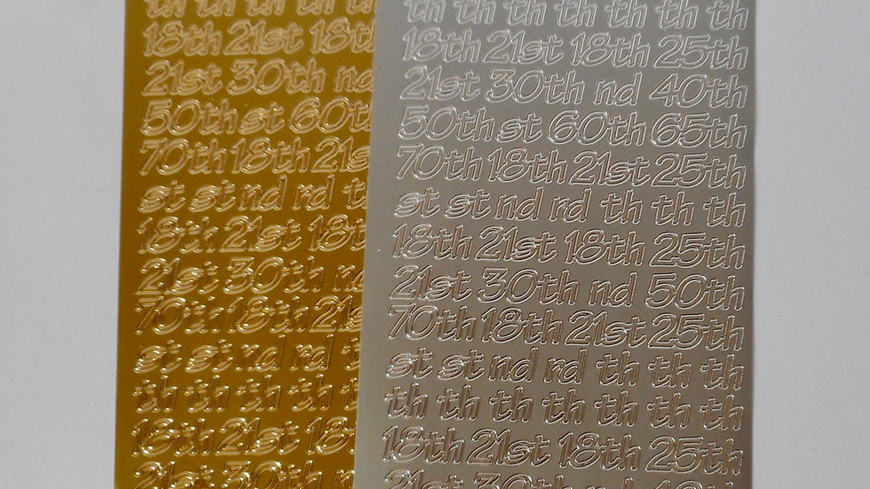 Gold/silver 18th, 21st etc peel off stickers 2 sheets