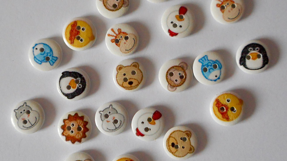 Animal faces 2 hole round wooden buttons