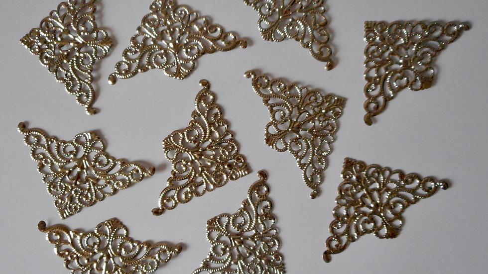 Silver colour filigree corners