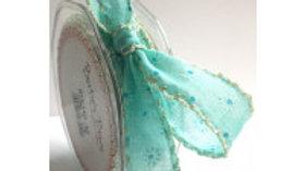 Bertie's Bows Daisy Print Ribbon  25mm Turquoise