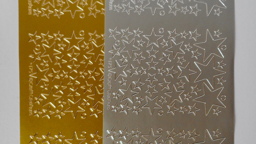 Gold/silver Stars peel off stickers 2 sheets