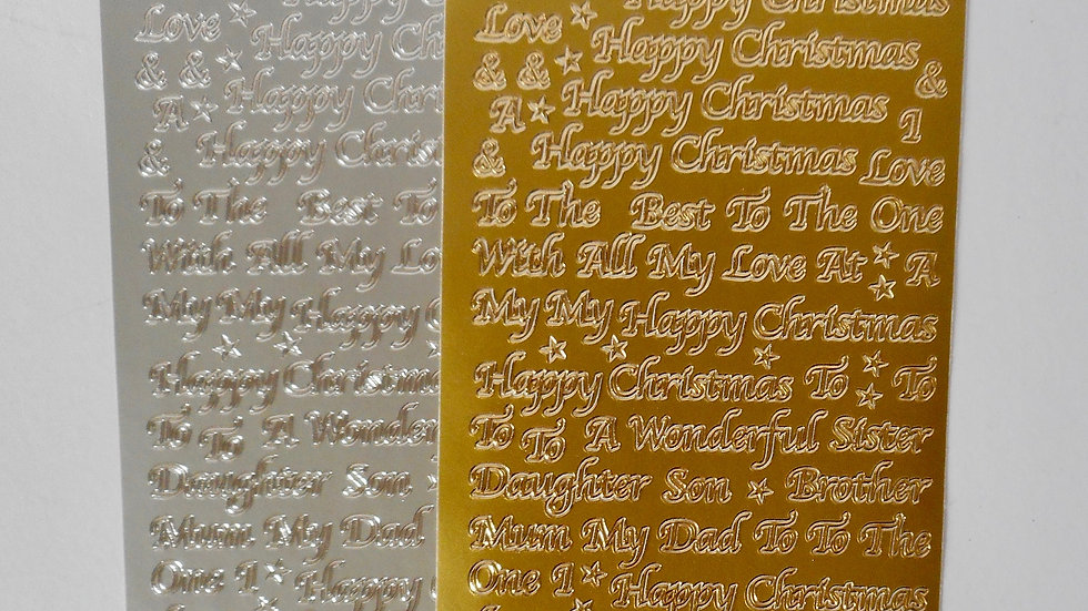 Gold/silver Happy Christmas (family) peel off stickers 2 sheets