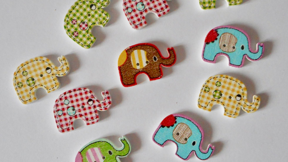 Elephant 2 Hole Wooden Buttons