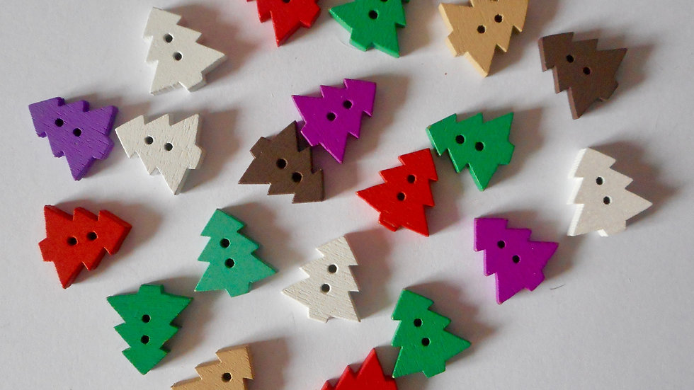 Coloured Christmas trees 2 hole wooden buttons