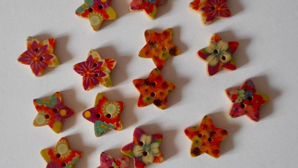 Flower Star 2 hole wooden buttons