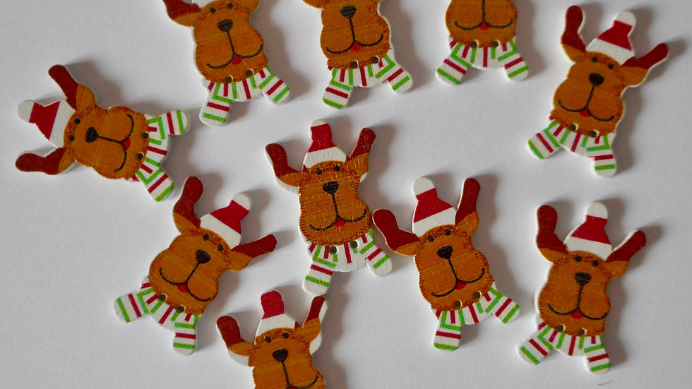 Doggy Christmas 2 hole wooden buttons