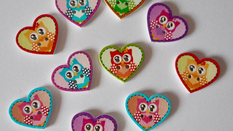 Owl Heart 2 Hole Wooden Buttons