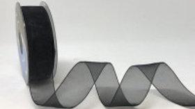 Safisa Sheer Organza Ribbon 25mm Black