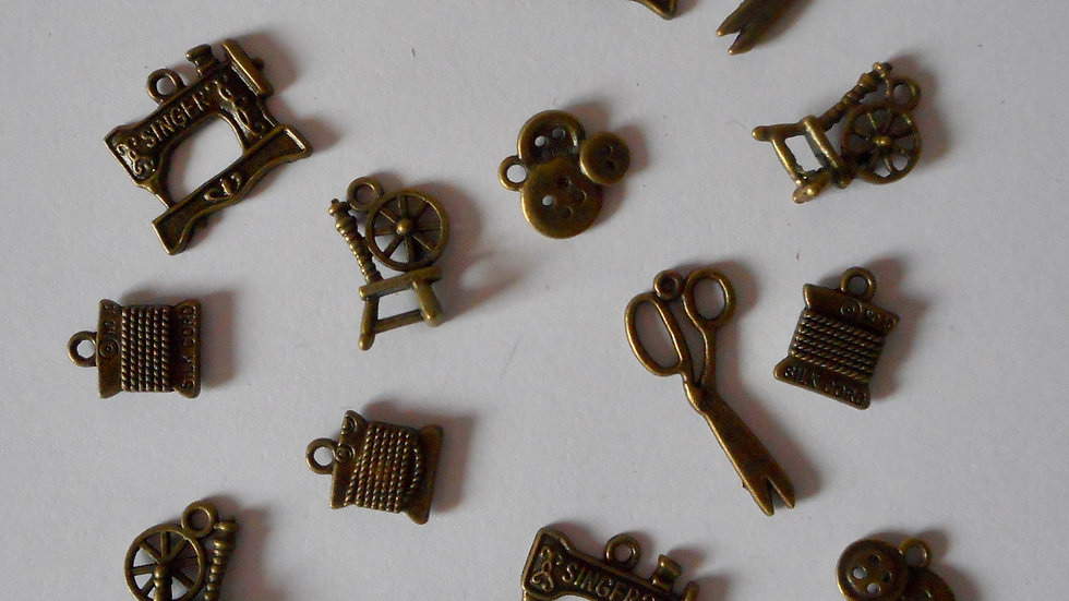Bronze sewing themed charms
