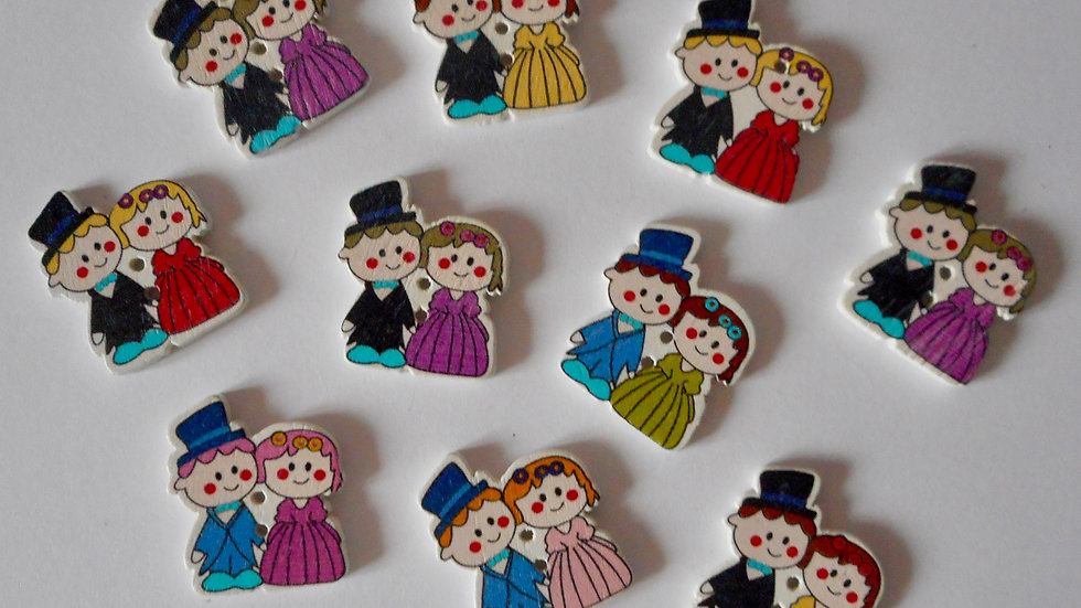 Wedding Couple 2 Hole Wooden Buttons