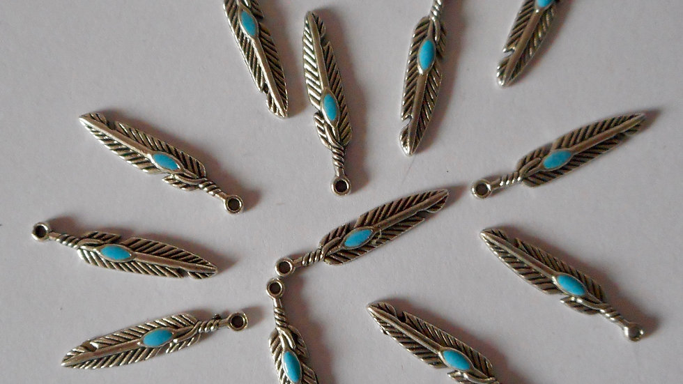 Silver colour feather charms