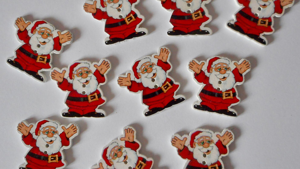 Happy Santa 2 hole wooden buttons
