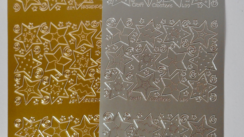 Gold/silver Fancy Stars peel off stickers 2 sheets
