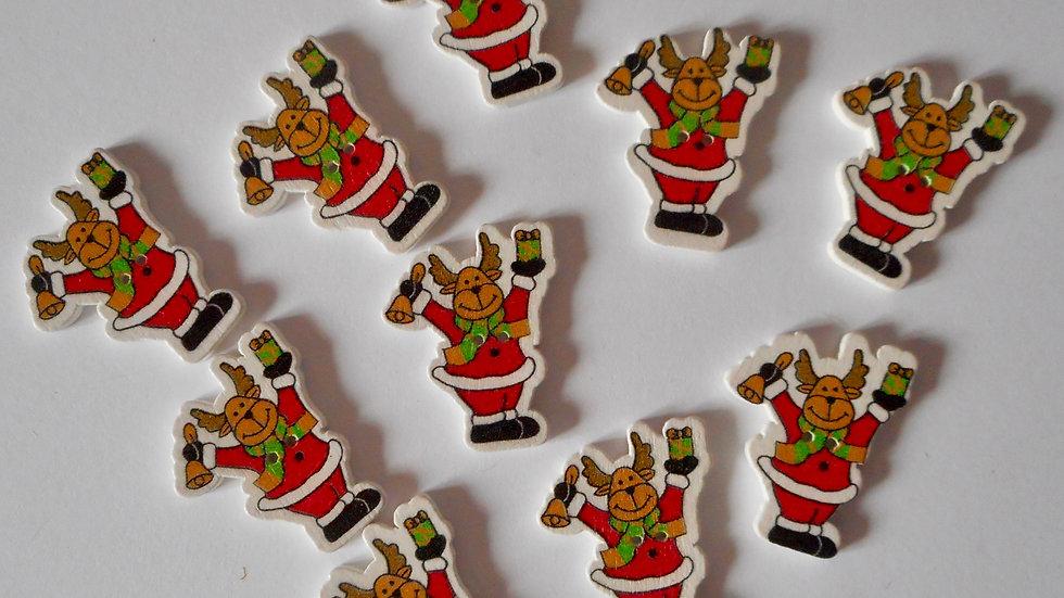 Reindeer Santa 2 hole wooden buttons