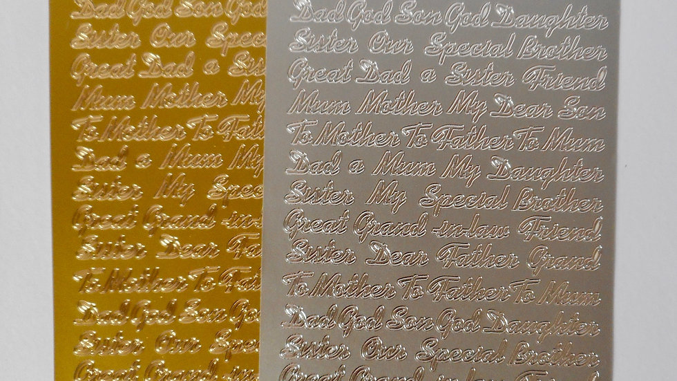 Gold/silver Mum, Dad etc. peel off stickers 2 sheets