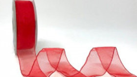 Safisa Sheer Organza Ribbon 25mm Red