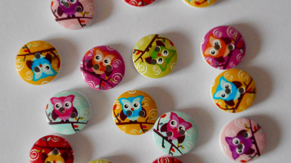 Mixed round owl 2 hole wooden buttons