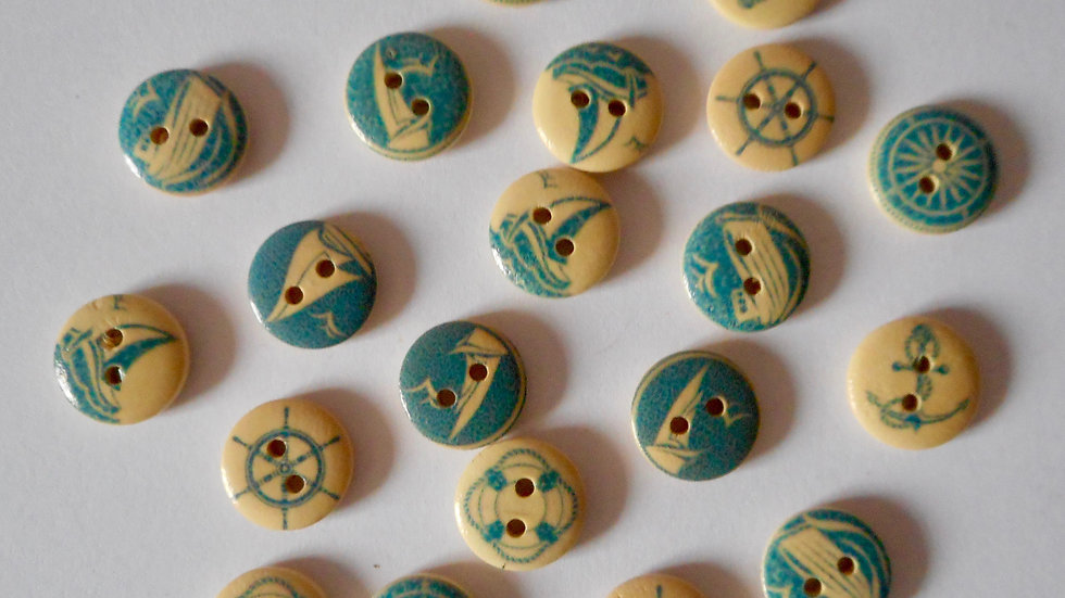 Sailing Themed 2 hole round wooden buttons