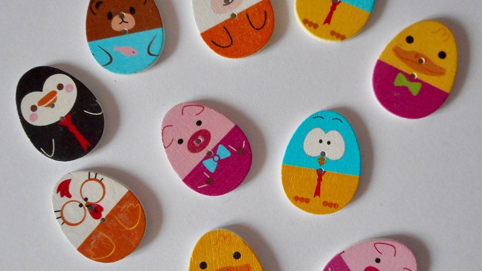 Animal Egg 2 Hole Wooden Buttons