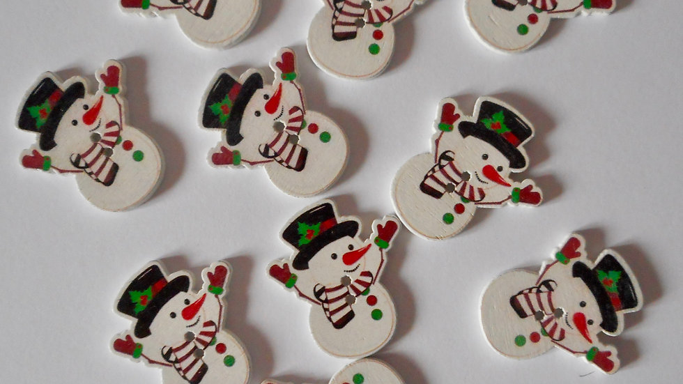 Holly Snowman 2 hole wooden buttons