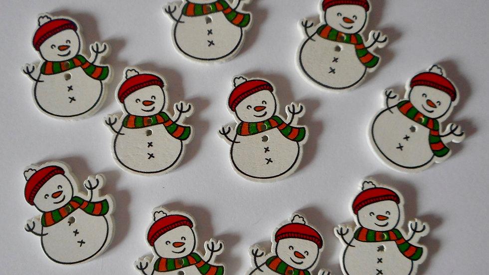 Bobble hat snowman 2 hole wooden buttons