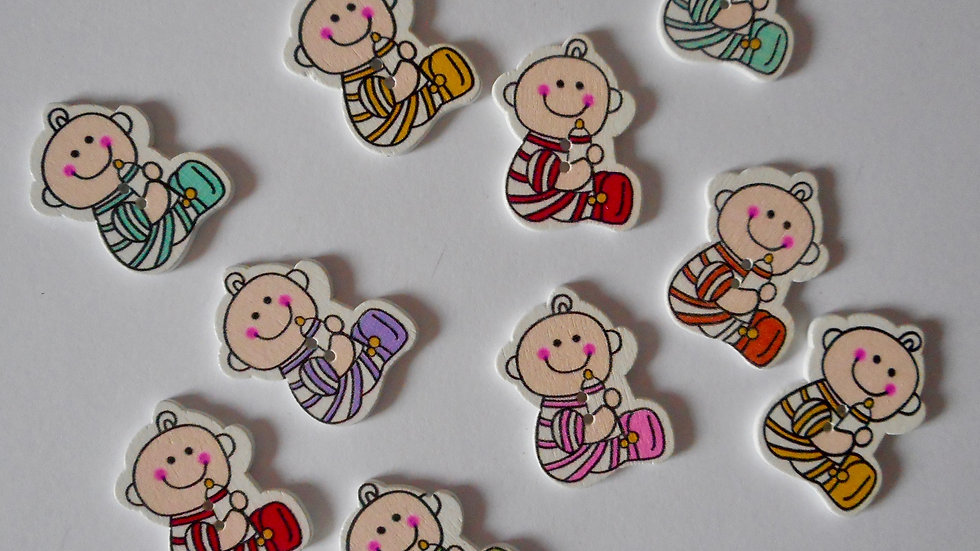 Baby 2 Hole Wooden Buttons