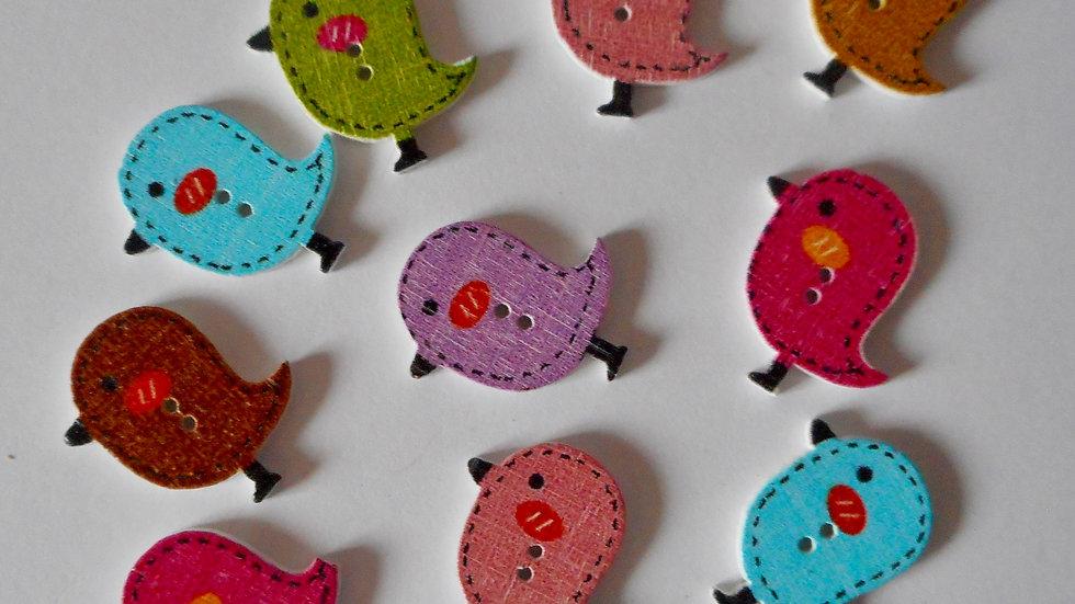 Bird 2 Hole Wooden Buttons