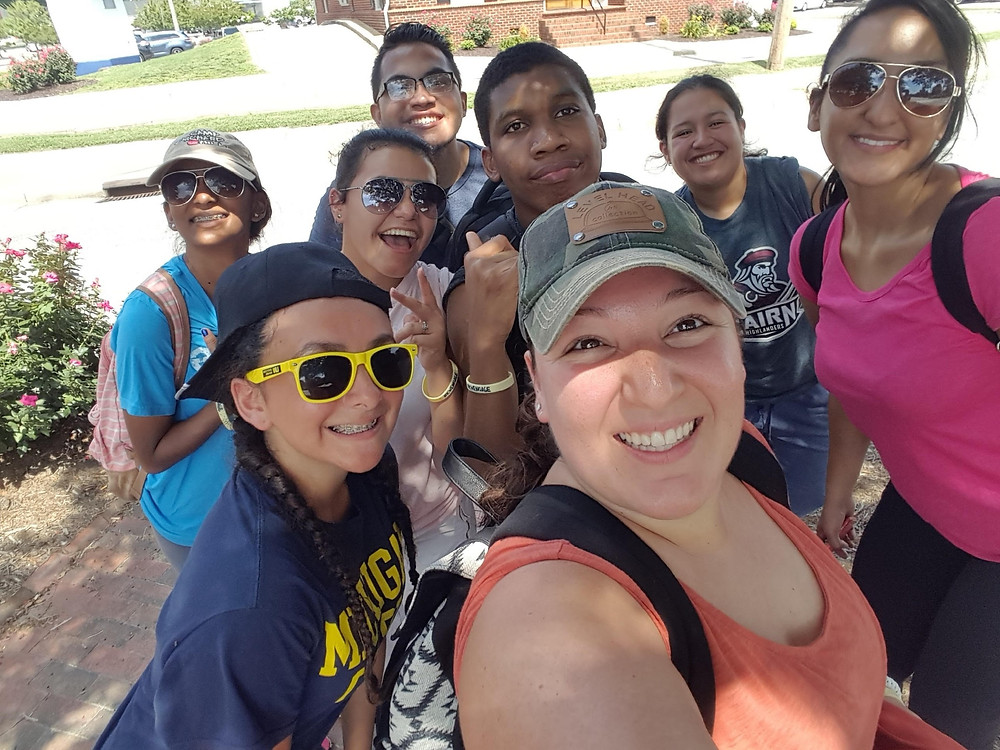 Our mentor, Alicia (center), on a youth mission trip.