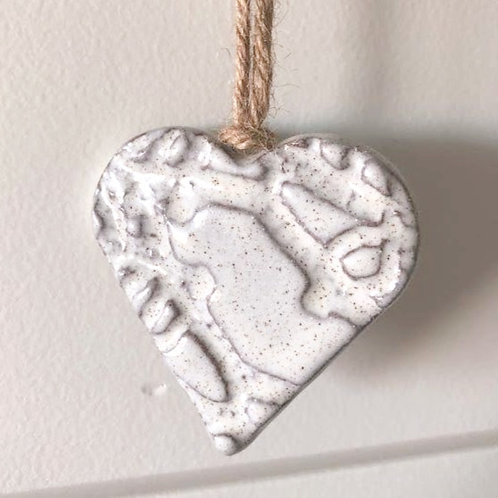 Speckled White Ceramic Heart