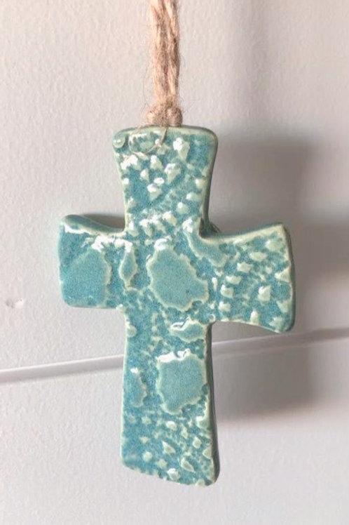 Aqua Ceramic Cross