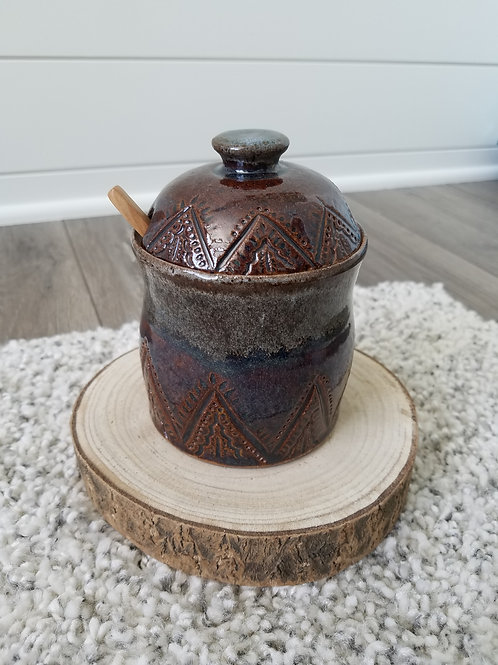 Carved Moraccan lidded salt/honey pot with spoon