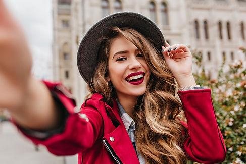Portrait of wonderful white female model