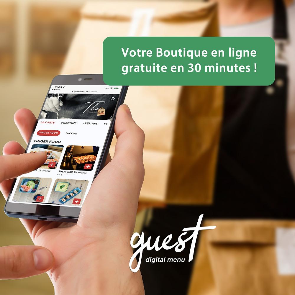 boutique en ligne click and collect gratuite avec guest menu