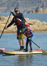 Young Seb Learning to Paddle