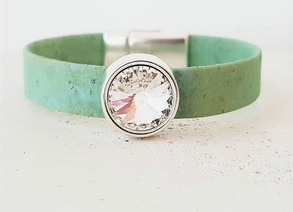 Kork-Armband Türkis & Swarovski-Perle Silver