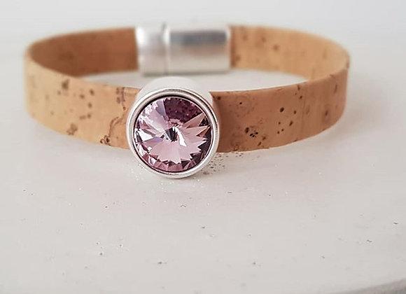 Kork-Armband Natur & Swarovski-Perlen light amethyst