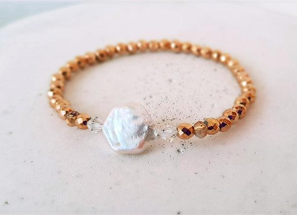 Armband Hämatitperlen Gold & Süßwasserperle