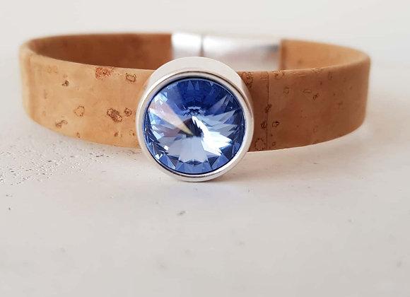 Naturkorkarmband Swarovski-Perle ocean blue