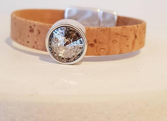Naturkorkarmband Swarovski-Perle silver patina
