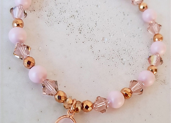 Perlenarmband Roségold Crystalanhänger