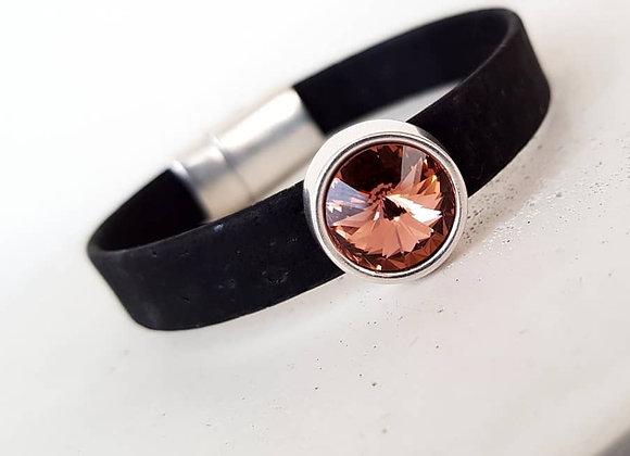 Korkarmband Black Swarovski Perle blush rose