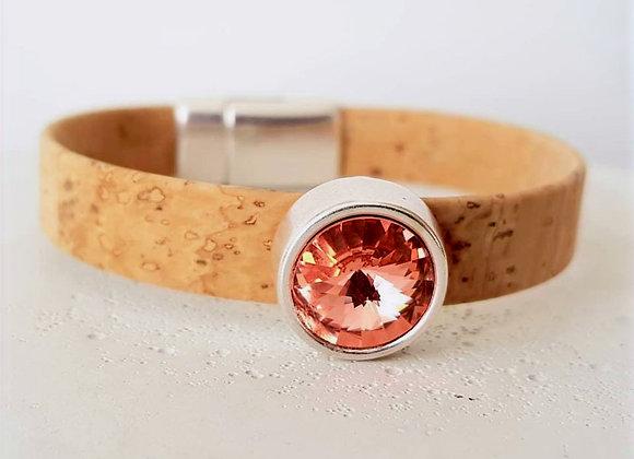 Kork-Armband Natur; Swarovski-Perle Tangerine