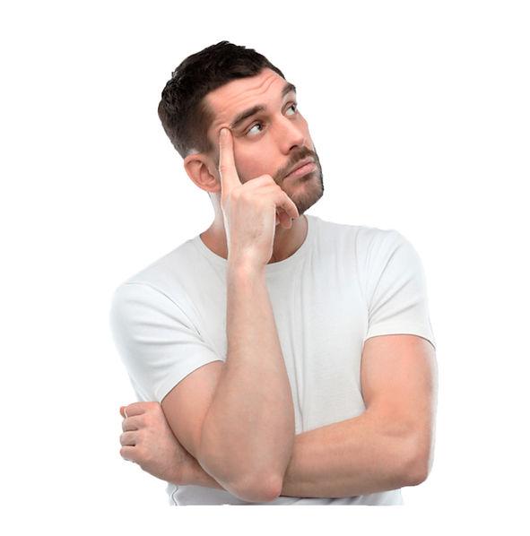 Задумавшийся о стоматологии мужчина