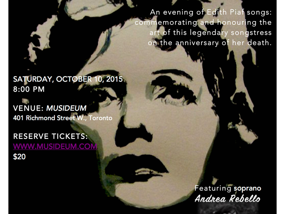 Remembering Edith Piaf concert, Musideum, Toronto