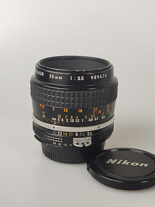Nikon 55mm f3.5 micro Nikkor lens AI