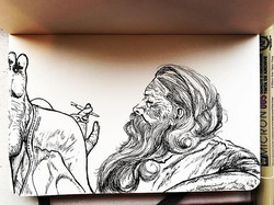 Sanyasi mornings #ink #micron #art #sadhu #calm