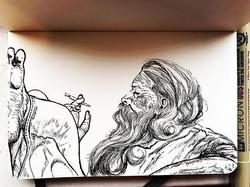 Sanyasi mornings #ink #micron #art #sadhu #calm