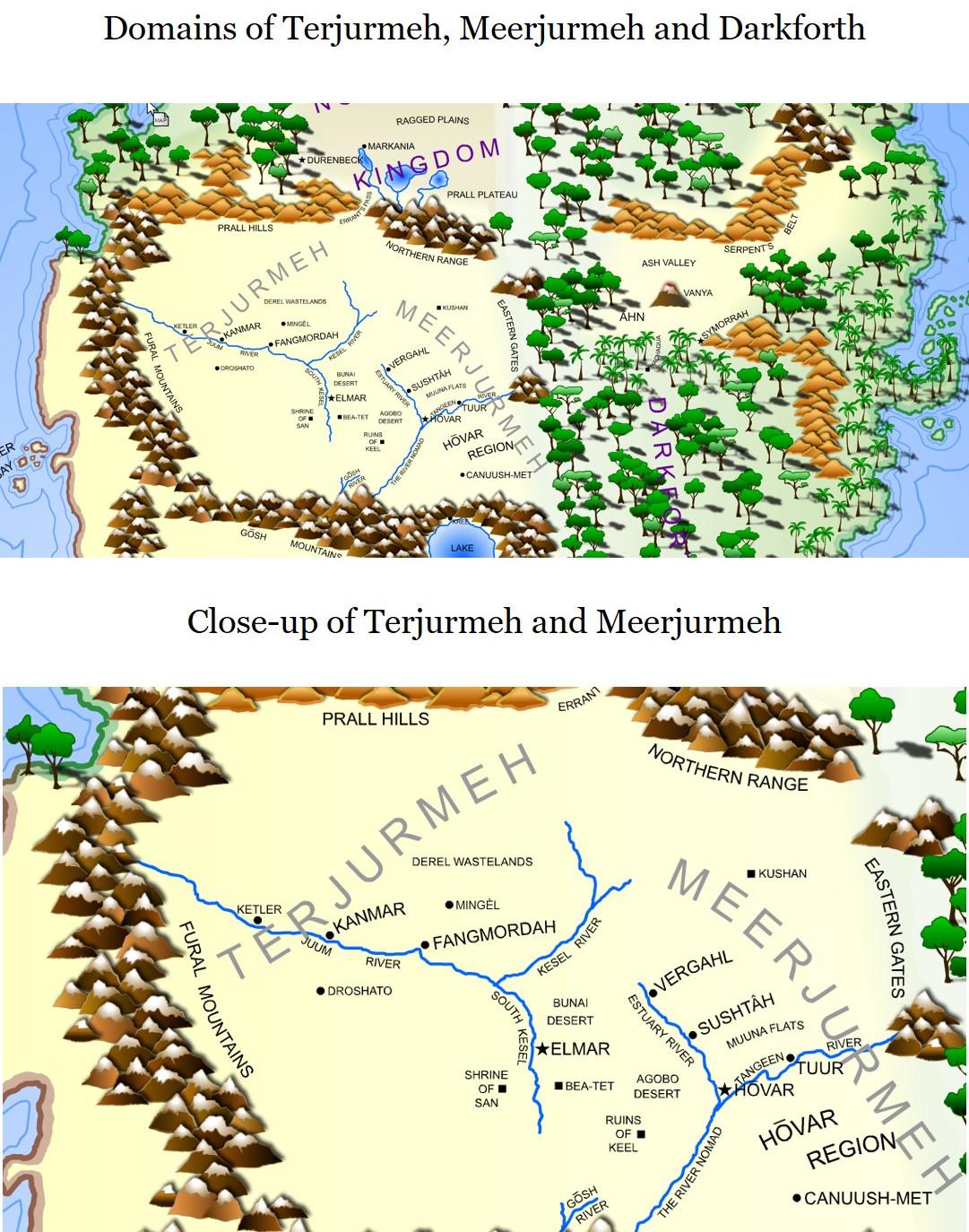 Map of Acia - Terjurmeh, Meerjurmeh and Darkforth