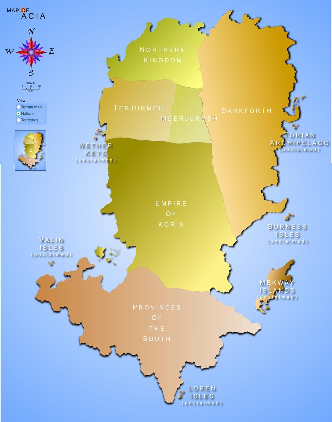 Map of Acia - Nations